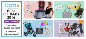 TTPM announces giveaway  (4 prize packages = total value $2,000) All TTPM Best of Baby 2016 Winners!