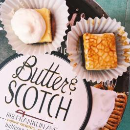 Heavenly s'mores and Ramos gin fizz square pie bites from @drunkbakers! #pie #butterandscotch