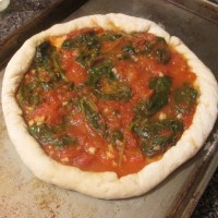 Homemade Spinach Basil Pizza