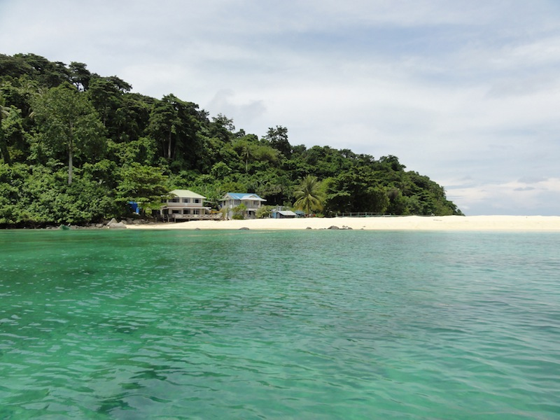 Approaching Pulau Talang Besar in Sarawak, Malaysia. The ranger station where volunteers stay is on the left.