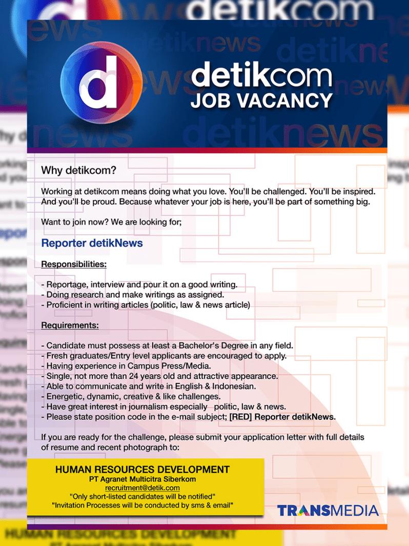 contoh iklan lowongan pekerjaan dalam bahasa inggris