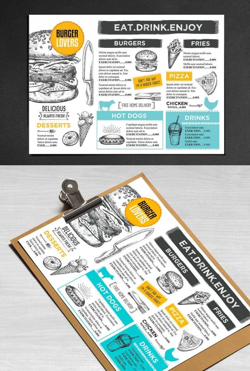 Contoh Desain brosur menu makanan