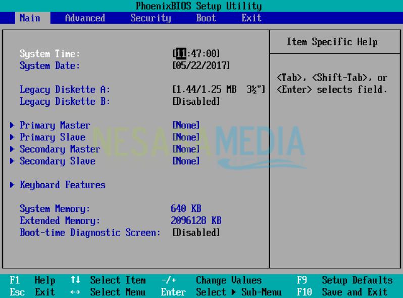 tampilan BIOS