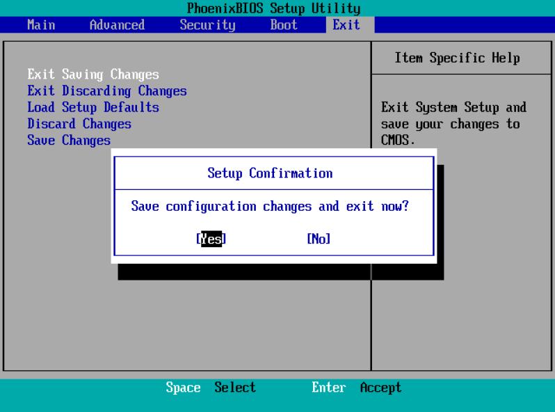 simpan pengaturan BIOS
