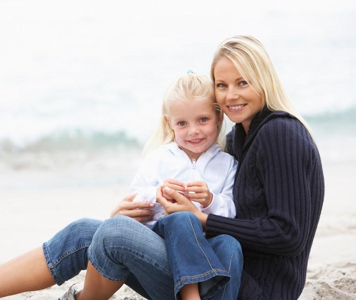 alene forældre på ferie med børn