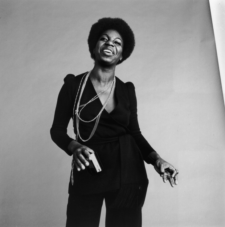 30th October 1969: Studio portrait of American vocalist Nina Simone (1933 - 2003) dancing and laughing. (Photo by Jack Robinson/Hulton Archive/Getty Images)