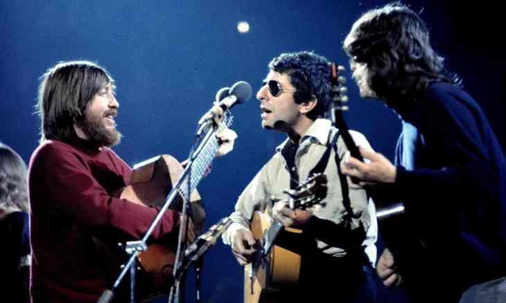 Bob Johnston, Leonard Cohen and Ron Cornelius in concert at the Royal Albert Hall in 1973. Photograph: Ilpo Musto/Rex Shutterstock