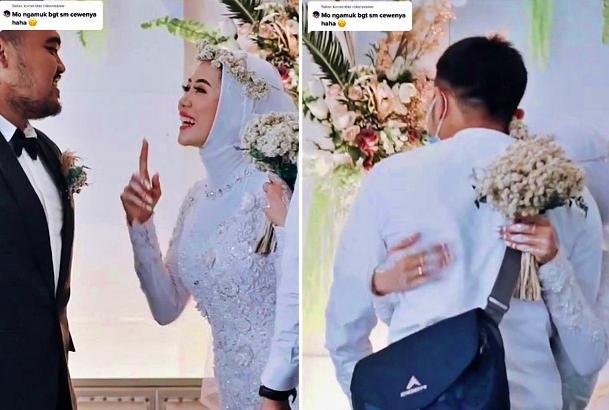 pengantin wanita minta izin suami untuk memeluk mantan kekasih yang datang saat resepsi
