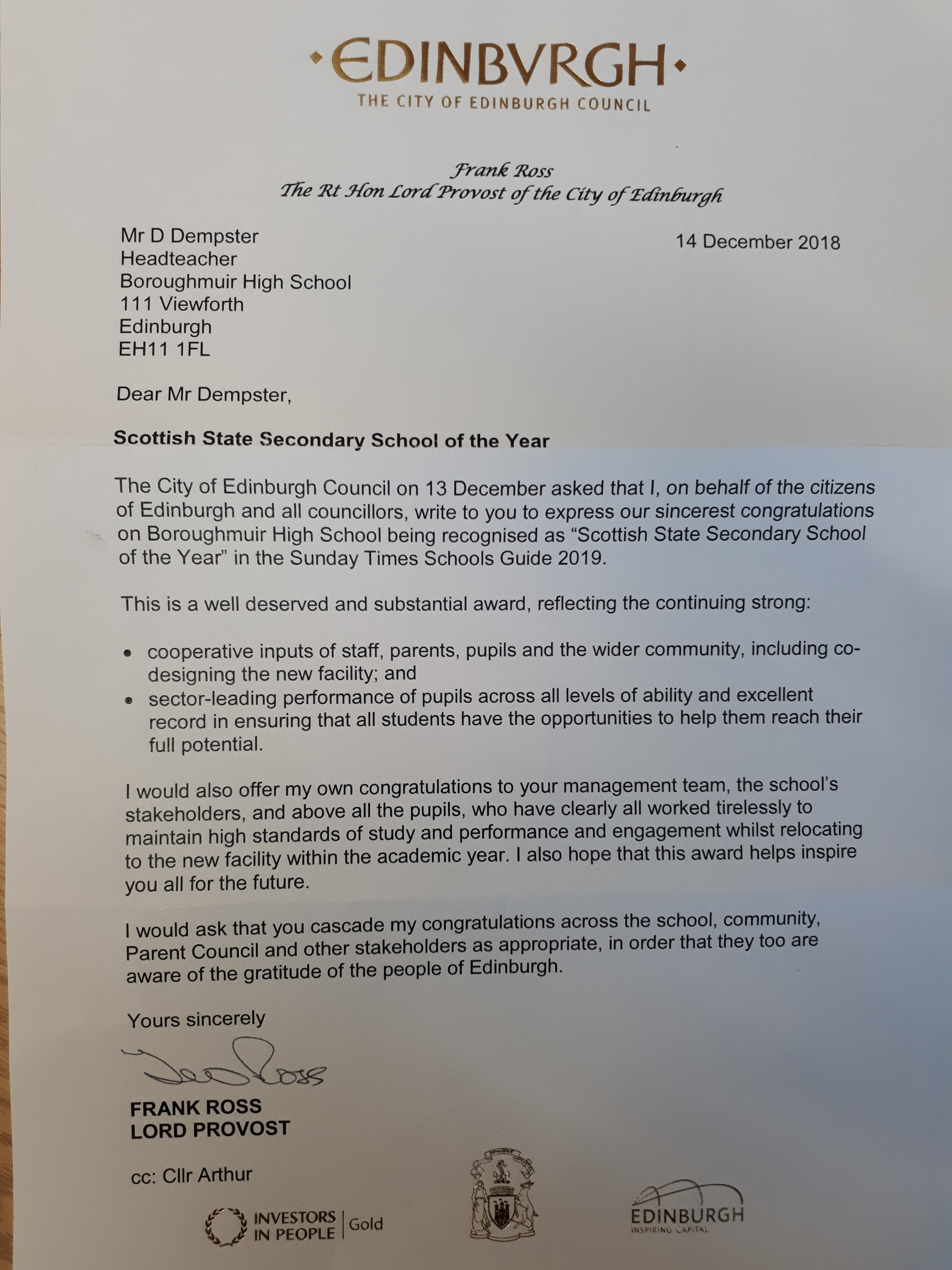 Letter to BHS from Lord Provost