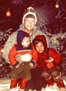 Debut Author Bill Beverly with his mom and younger brother as kids