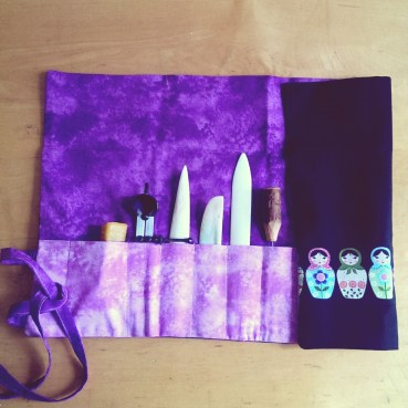 the cutest bookbinder's tool kit sewn by my talented mother