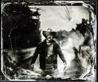 "Portrait taken on 4x5"" camera with petzval lens, exposed on wet plate collodion plate."