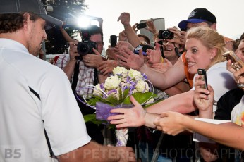 A bouquet of white roses at the receiption of Anže Kopitar after winning Stanly Cup with LA Kings. Ljubljana airport, Slovenia .