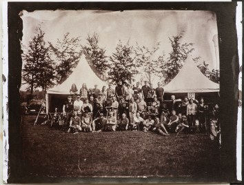"""An albumen print toned with gold from a 10x12"""" wet plate collodion negative of a group of collodion artists at European Collodion Weekend in Eindhoven, NL."""