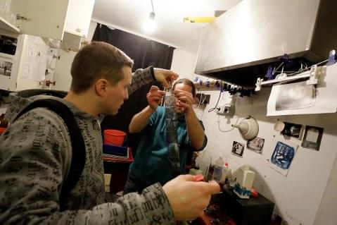 We finished the day in darkroom, where we've developed films. Photo Bojan Brecelj