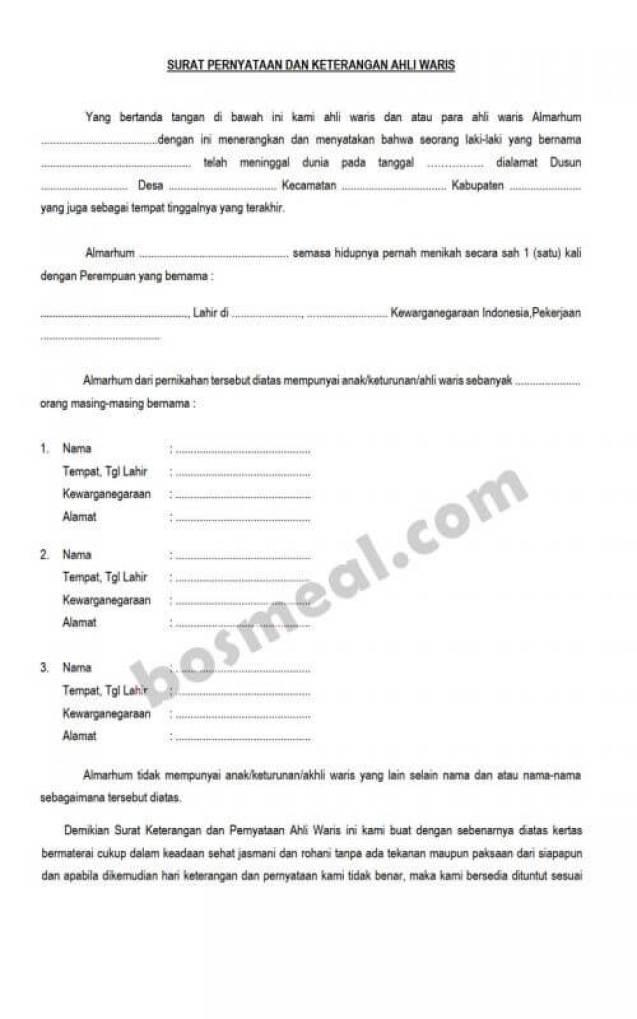 Contoh Surat Pernyataan Ahli Waris