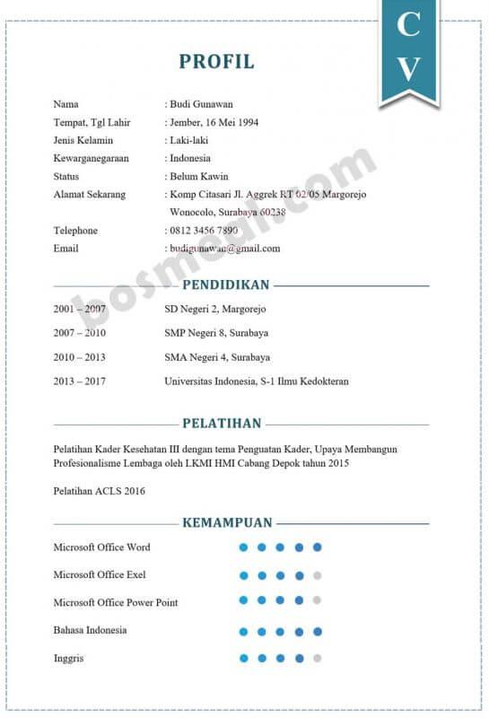 Contoh CV Lamaran Kerja Sebagai Dokter