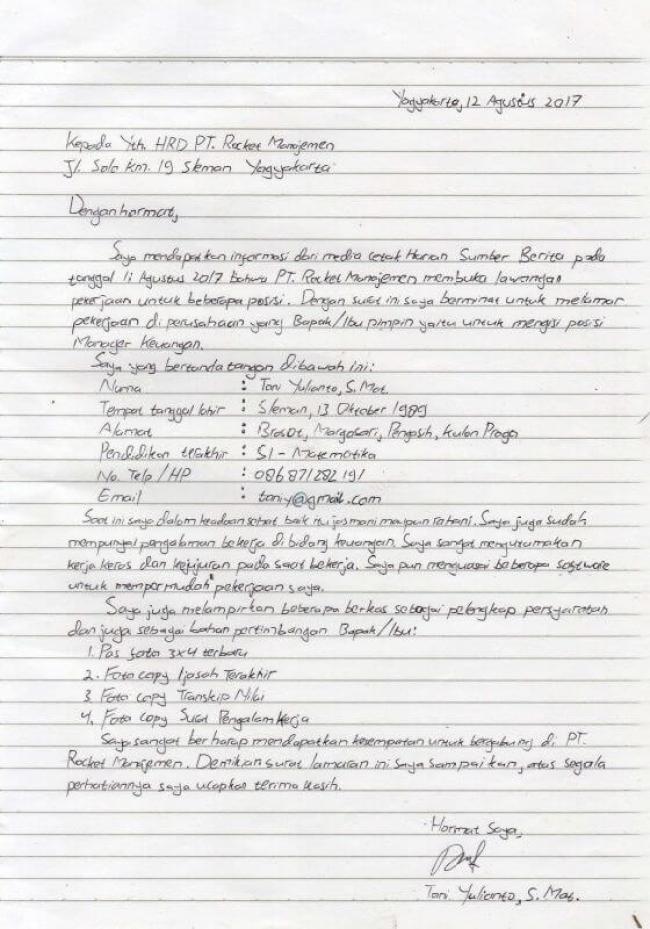 Contoh Surat Lamaran Kerja Tulis Tangan 2017