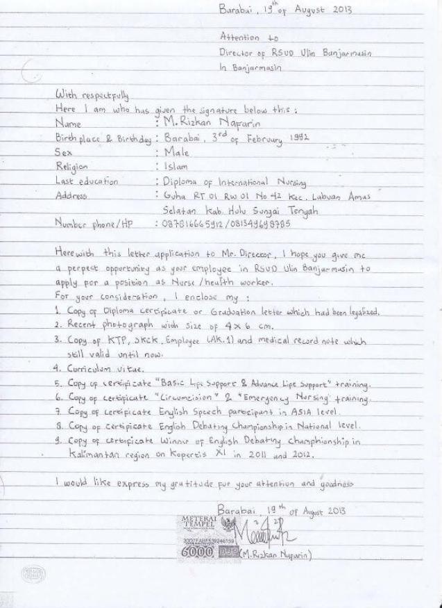 Contoh Surat Lamaran Kerja Tulis Tangan Bahasa Inggris