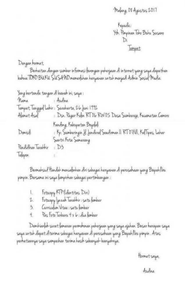 Contoh Surat Lamaran Kerja Tulis Tangan Latin