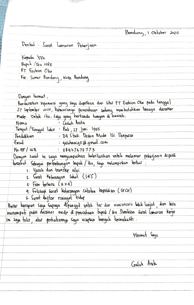 Contoh Surat Lamaran Kerja Tulis Tangan Terbaik
