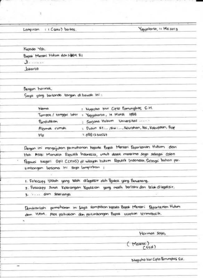 Contoh Surat Lamaran Kerja Tulis Tangan Untuk CPNS
