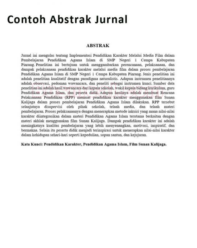 Contoh Abstrak Jurnal