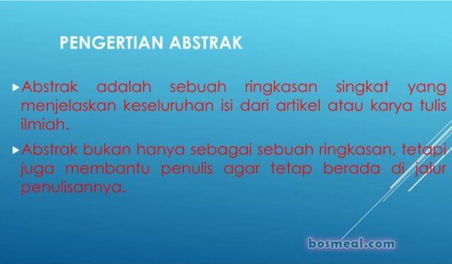 Contoh Abstrak Pengertian Abstrak