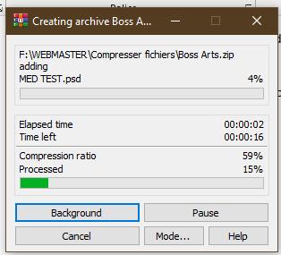 La compression des fichiers en cours par Boss Arts