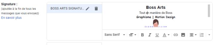 dans les paramètres Gmail l'option signature par Boss Arts