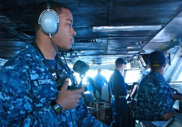 Bridge officer on board USS Ronald Reagan