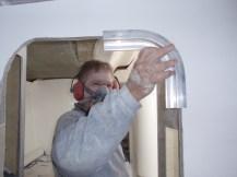 Cutting out doorways for aluminium trim
