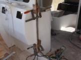 Clamping the doorway hinge blocks