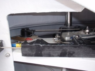 Rudder reference control fitted in port eengine locker