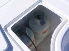 Gasbottle storage in the foredeck locker