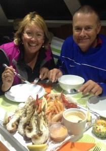 Leanne & Steve enjoying our seafood platter on BN.
