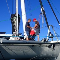 Checking out the new spinnaker for the first time.