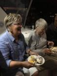 Meal on board The Bossa. Chris and I enjoying Eva's dessert. Wow!