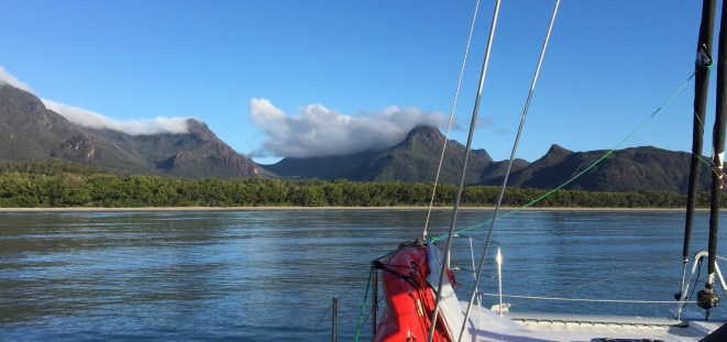Entering Zoe Bay. Perfect conditions, no wind or swell. We even stayed the night!