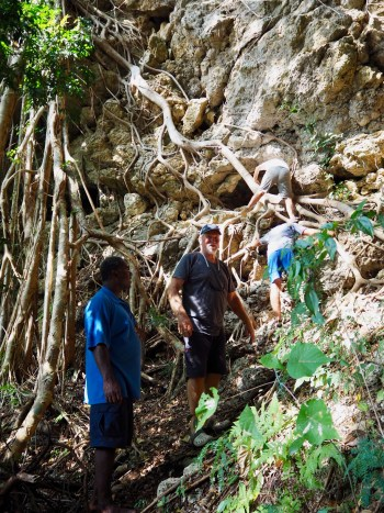 Climbing to the caves