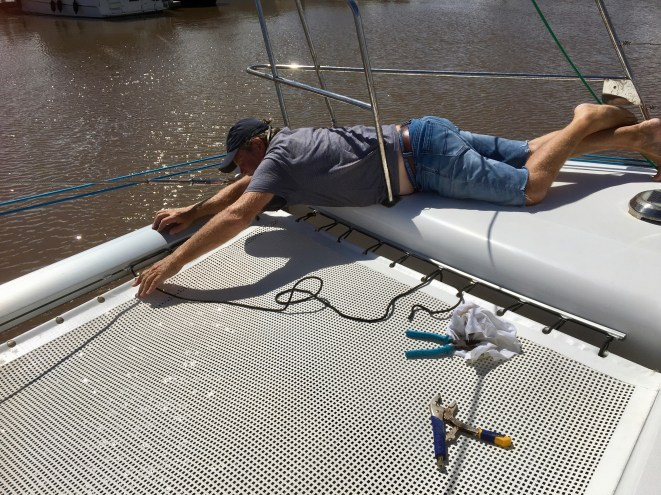 Our tramp was bashed constantly. A quick repair at the sailmakers, then back on deck.