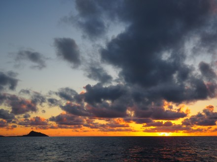 Leaving West Bay at sunrise