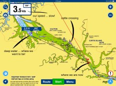 Our Navionics screen on our iPad assists ...all that green means dry land at low tide!