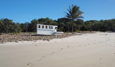 Apparently this boat smashed up on the Digby beach during a recent cyclone. It's debris is everywhere.
