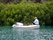 Leanne just loves fishing ... Steve doing his exercises!
