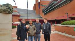 We arrived at the British Library. It was far more modern looking than we anticipated as there were some relatively old looking buildings in the surrounding area.