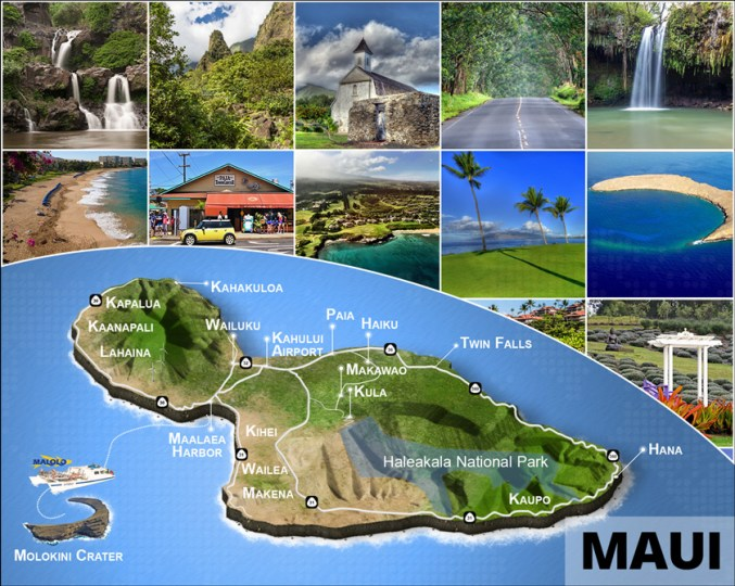 Maui Island Map   Driving  Beaches  Haleakala  Hana  Kaanapali   More  3D Maui Island Map