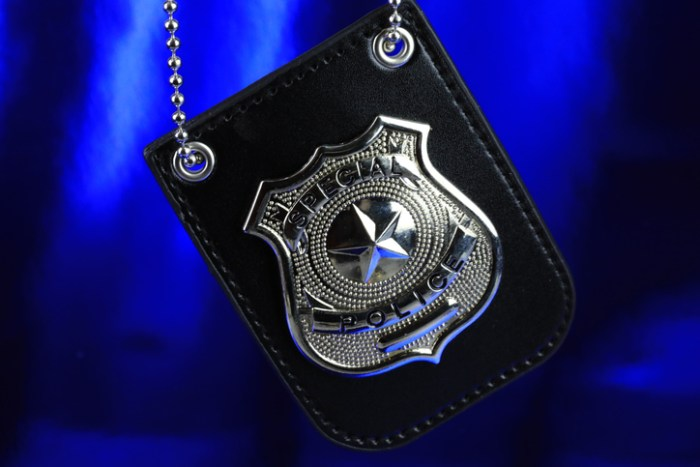 Police badge on a blue background
