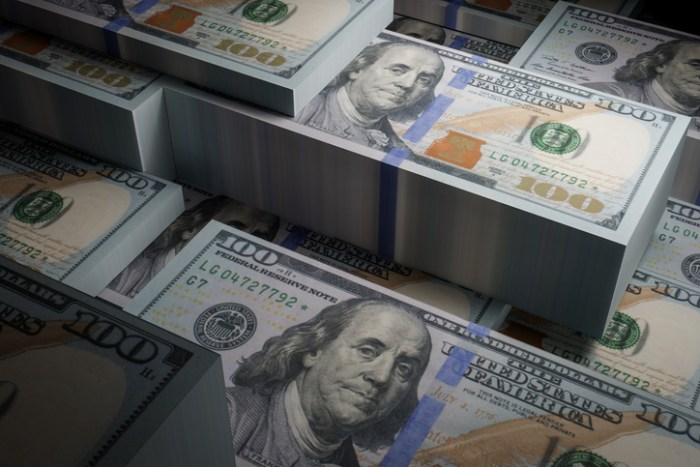 Bundled dollar bills