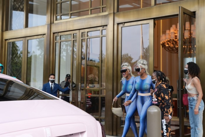 Shannade and Shannon Clermont wear blue jumpsuits pink Rolls Royce